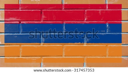 Armenia flag painted on old brick wall texture background - stock photo