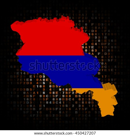 Armenia map flag on hex code 3d illustration - stock photo