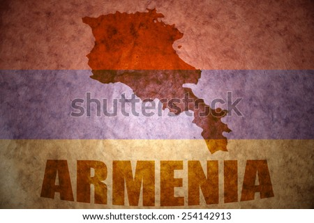 armenia map on a vintage  flag background - stock photo