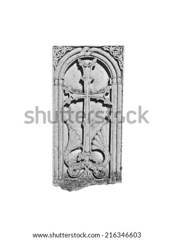 Armenian medieval cross stone in the Monastery Makaravank isolated over white background in monochrome - stock photo