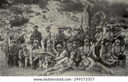 Armenian volunteers who fought under British General Allenby in 1918. Fought on the Palestine front in Fall 1918, prior to the Oct. 30th Mudros Armistice, in which Turkey accepted defeat in WW1. - stock photo