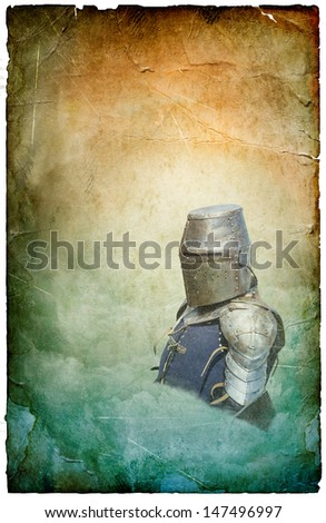 Armored knight in helmet with shield - retro postcard on poster vintage paper background - stock photo
