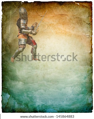Armored knight with sword and shield - retro postcard on portrait vintage paper background - stock photo