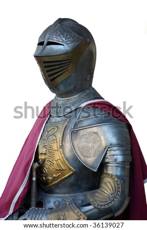 Armored Medieval knight  Knight's armor isolated on white - stock photo