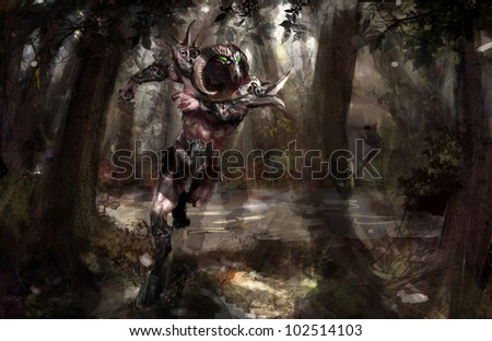 armored minotaur running in the forest - stock photo