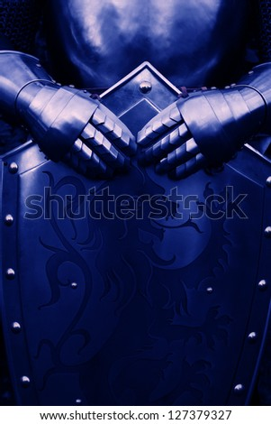 Armour of the medieval knight- with blue color - stock photo