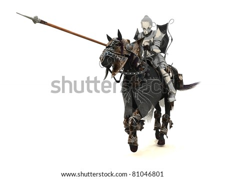 Armoured knight on charging warhorse - stock photo