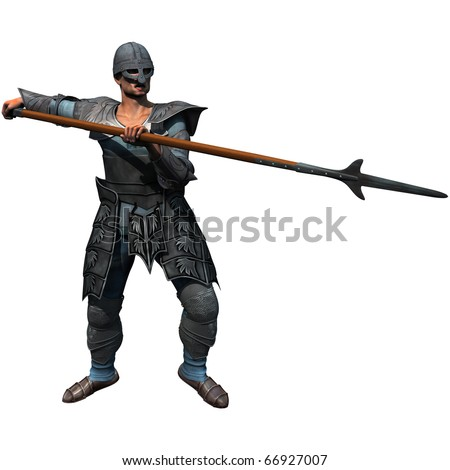 Armoured Spearman, medieval soldier at the ready, 3D render illustration - stock photo