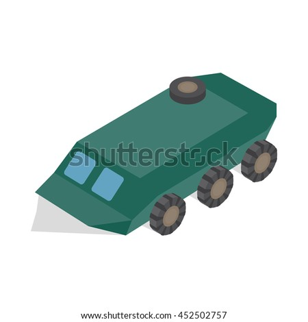 Armoured troop carrier wheeled icon in isometric 3d style on a white background - stock photo