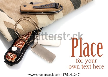 Army badges, knife and camouflage isolated on white - stock photo