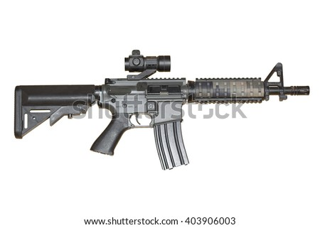 Army carbine gun isolated on a white background  - clean background - digital grip #1 - stock photo
