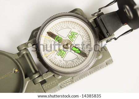 Army compass against white background - stock photo