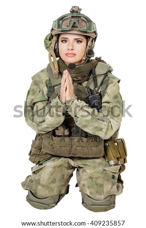 army girl pray clasp hands palms, soldier woman in a military uniform over white background - stock photo