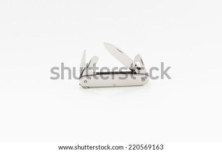 Army Knife multi-tool, isolated on white background - stock photo