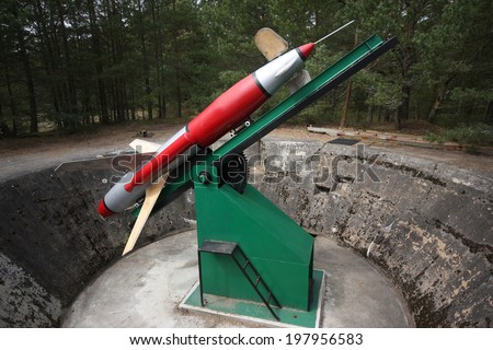 Army rocket Rheintochter from WWII (German rocked produced in Poland) - stock photo