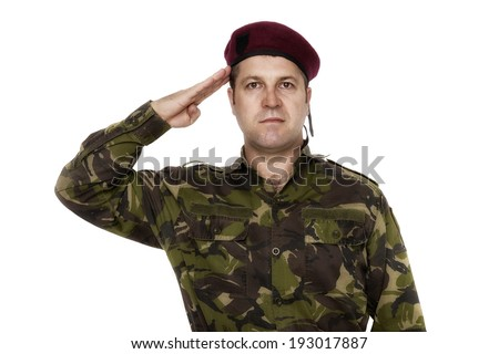 army soldier saluting isolated on white background - stock photo