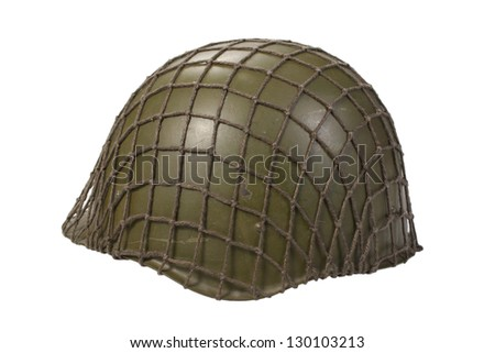army steel helmet isolated on white - stock photo