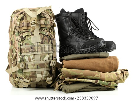 Army uniform, isolated on white - stock photo