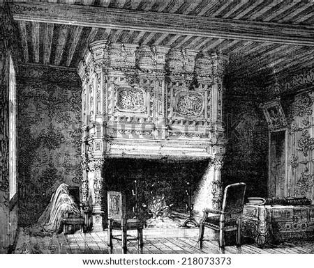 Arnay-le-Duc. Fireplace in one of the castle, vintage engraved illustration. Journal des Voyage, Travel Journal, (1880-81). - stock photo