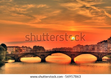 Arno river at sunset, Florence, Italy (HDR photo) - stock photo