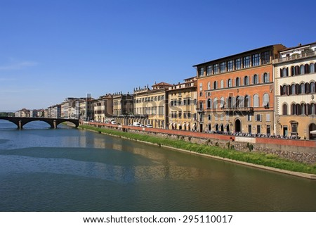Arno river bank in Florence - stock photo
