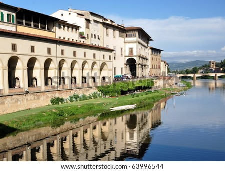 Arno River reflections in Florence, Italy - stock photo