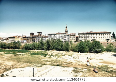 Arno Waterfront in Florence with Medieval Architecture - Italy - stock photo
