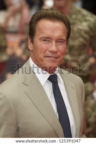Arnold Schwarzenegger arriving for the UK Premiere of The Expendables 2 at the Empire Cinema in, Leicester Square, London. 13/08/2012 Picture by: Simon Burchell - stock photo