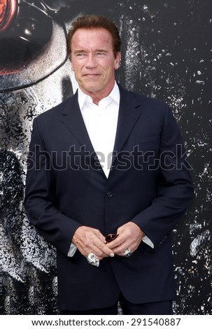 Arnold Schwarzenegger at the Los Angeles premiere of 'Terminator Genisys' held at the Dolby Theatre in Hollywood, USA on June 28, 2015.  - stock photo