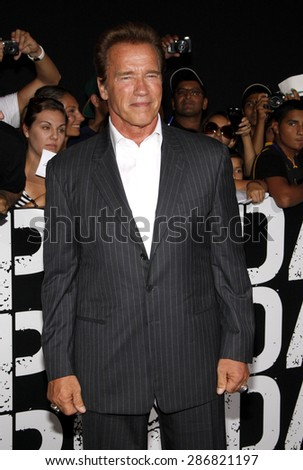 Arnold Schwarzenegger at the Los Angeles premiere of 'The Expendables 2' held at the Grauman's Chinese Theatre in Hollywood on August 15, 2012.  - stock photo