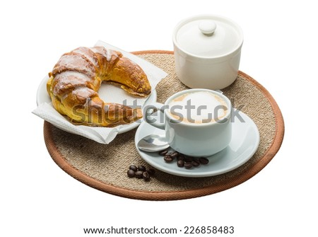 Aroma Cappuccino with beans and croissant - stock photo