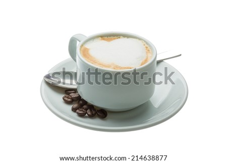 Aroma Cappuccino with beans and spoon - stock photo