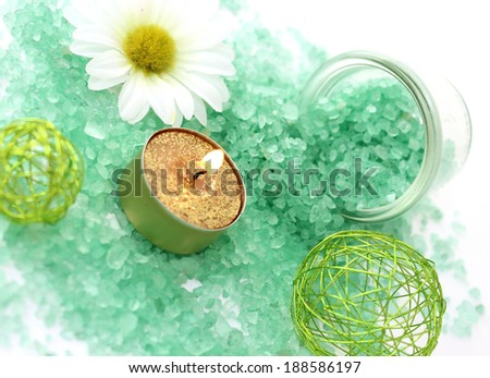 aromatherapy composition of bath salt and candle on white - stock photo