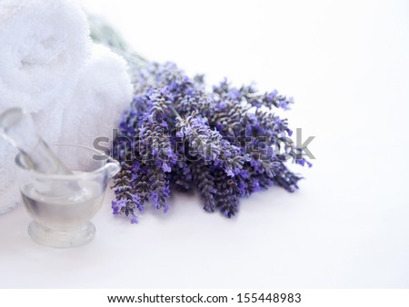 Aromatherapy, Lavender and massage oil - stock photo