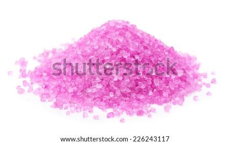 Aromatic bath salt isolated on white  - stock photo