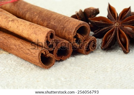 Aromatic close up set of anise and cinnamon on white fibre material like flax - stock photo