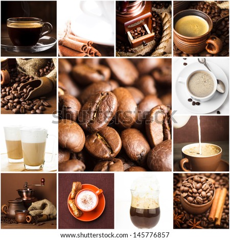 Aromatic coffee, cappuccino, latte, and roasted beans for menu design - stock photo