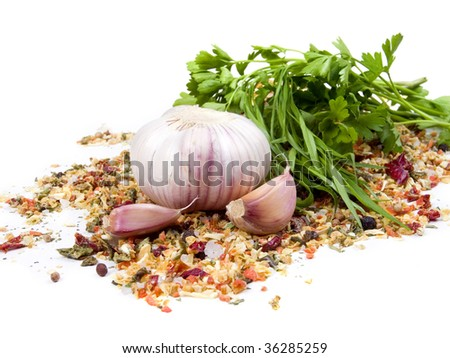 Aromatic herbs and garlic are isolated on a white background - stock photo