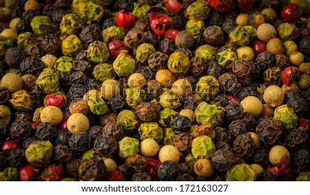 aromatic mixture of pepper - stock photo