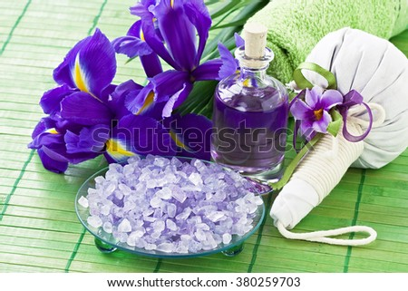 Aromatic sea salt, essential oil, herbal bag for Thai massage and relax/Aroma SPA set   - stock photo
