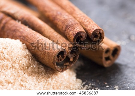 aromatic spices with brown sugar - cinnamon - stock photo
