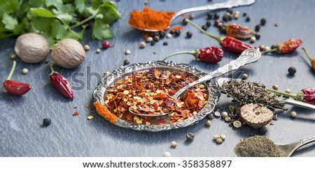 Aromatic spices with pepper and turmeric powders,cumin and coriander seeds, chili flakes , anise, nutmeg and cinnamon - stock photo