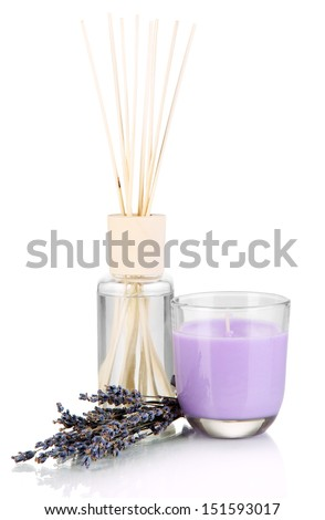 Aromatic sticks for home with smell of lavender isolated on white - stock photo