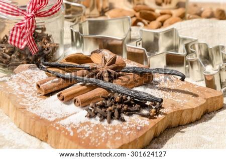 aromatic vanilla and cinnamon bark - stock photo