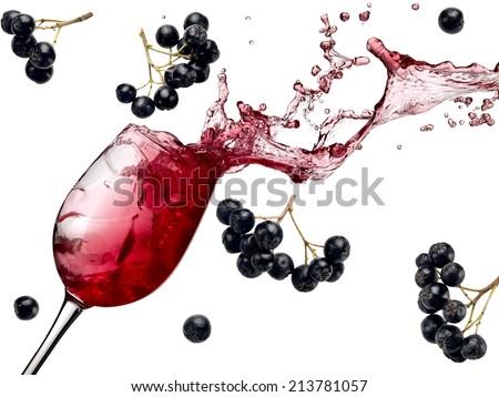 Aronia wine splash - stock photo
