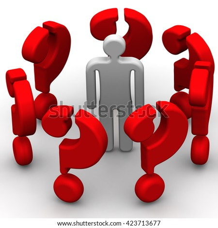 Around only issues. The symbol of a man surrounded by many red questions. The concept of problem solving. Isolated. 3D Illustration - stock photo
