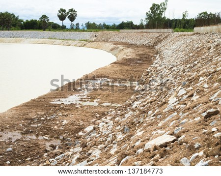 Around the catchment area of soil and rocks - stock photo