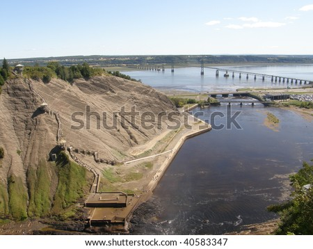 Around The Montmorency Falls or Chutes Montmorency in Quebec City, Canada - stock photo
