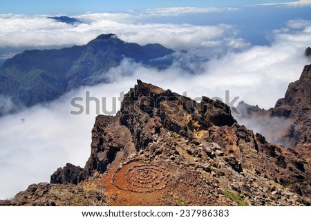 Arranged circle of stones at Roque de los Muchachos, La Palma, Canary Islands, Spain - stock photo