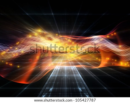 Arrangement of abstract sine waves and design elements on the subject of modern computing, virtual reality and signal processing - stock photo